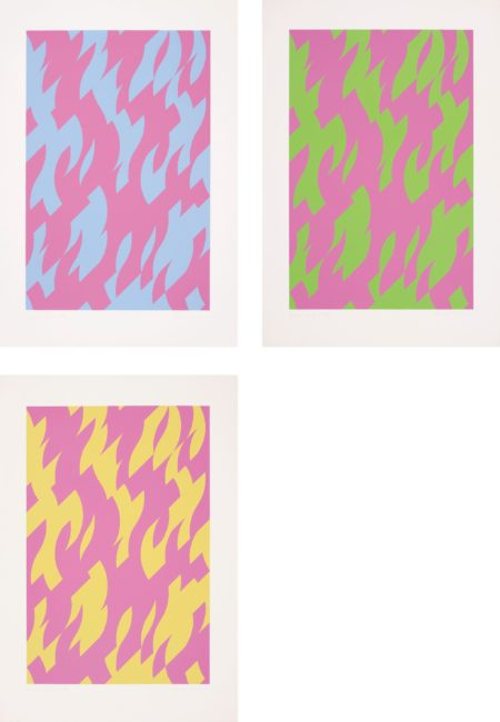 Bridget Riley-Magenta and Blue; Magenta and Green; and Magenta and Yellow-2002