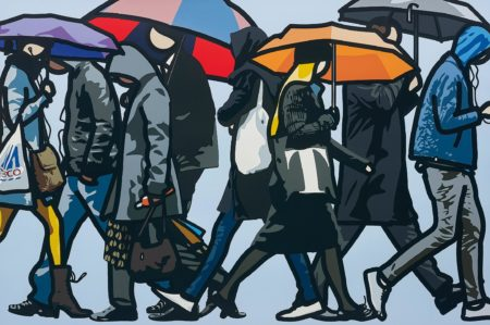 Julian Opie-Walking in the Rain, London-2015