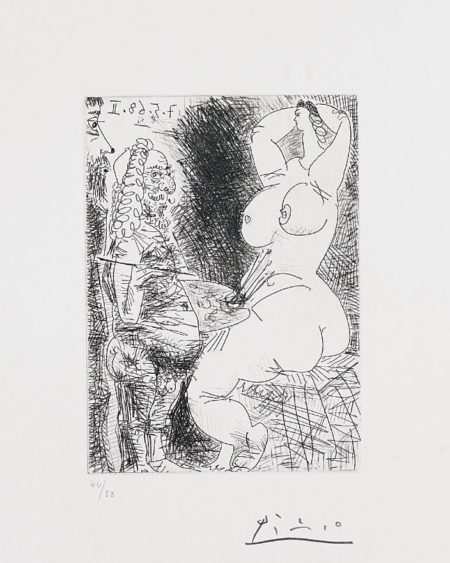 Vieux Peintre, Modele et Spectateur (Old Painter, Model and Spectator), pl. 68 from Series 347-1968