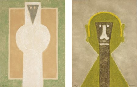 Rufino Tamayo-Personaje Blanco (White Person); and Cabeza en Amarillo (Head in Yellow)-1976
