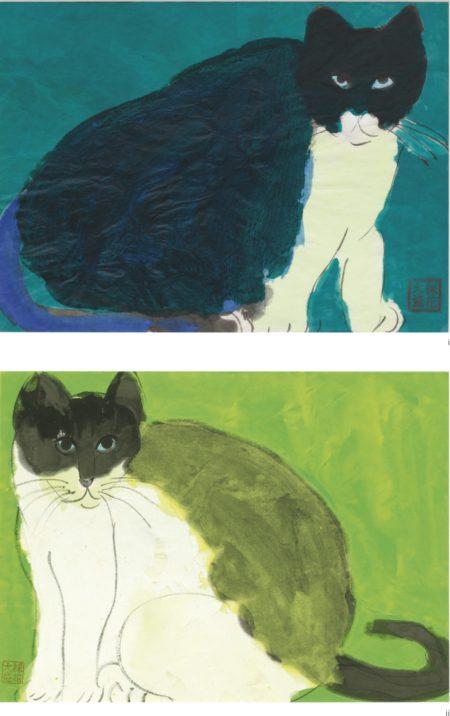 Walasse Ting-(i) A Blue Cat; (ii) A Green Cat (Two Works)-1986