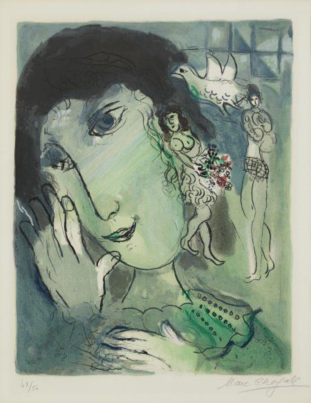 Marc Chagall-Le Poete (Mourlot: 442)-1966