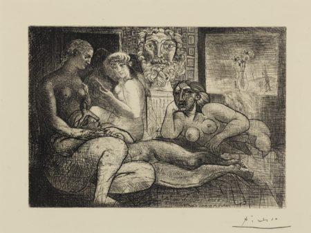 Pablo Picasso-Quatre Femmes Nues Et Tete Sculptee (Bloch: 219; Baer: 424)-1934