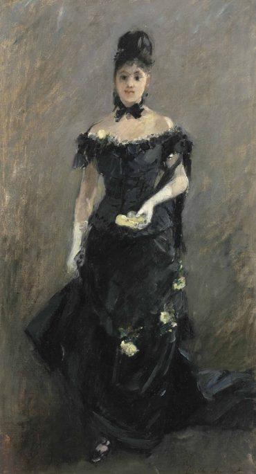 Berthe Morisot-Femme en noir or Avant le theatre-1875