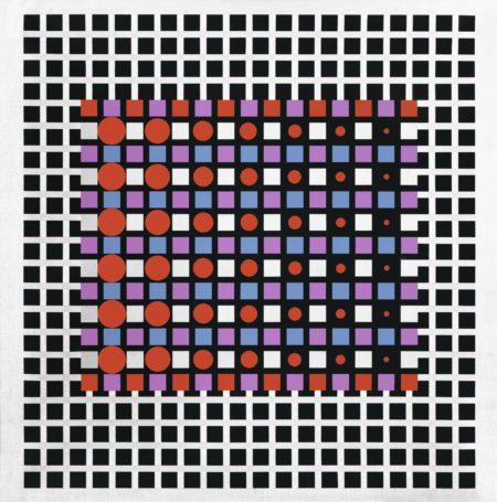 Victor Vasarely-Zilver-1988