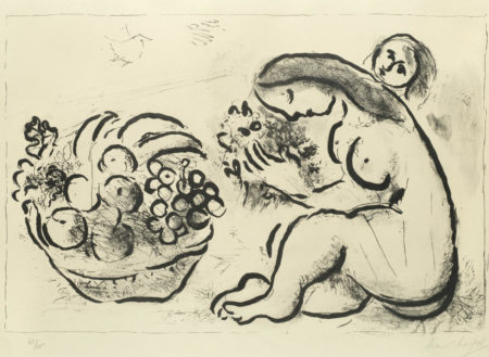 Marc Chagall-Nu a la Corbeille de Fruits-1954