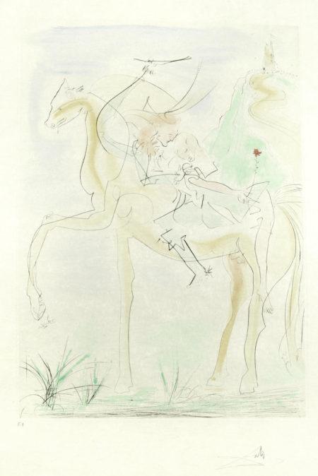 Salvador Dali-Couple a Cheval, from 'Suite mythologique nouvelle'-1971
