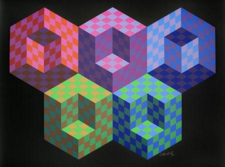 Victor Vasarely-Hexa 5-1988