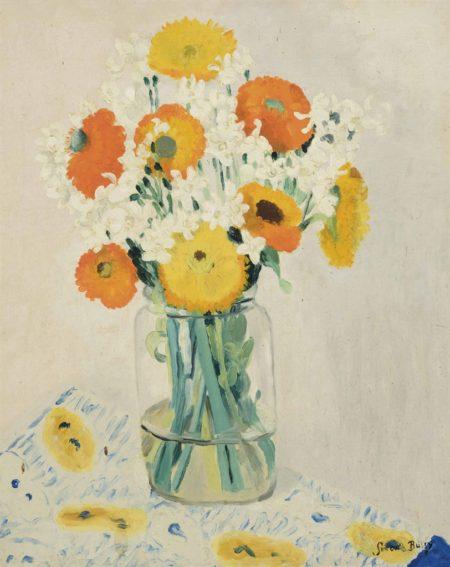 Simon Albert Bussy-Spring flowers in a glass vase-