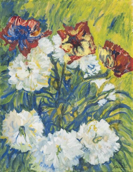 Jacob Epstein-Peonies and poppies-