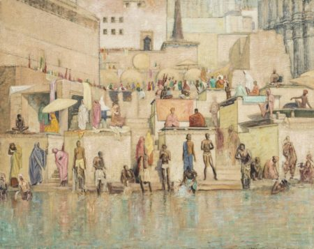 William Rothenstein-Bathing on the Ganges-