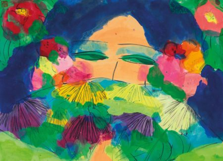 Walasse Ting-Beauty With Flowers-