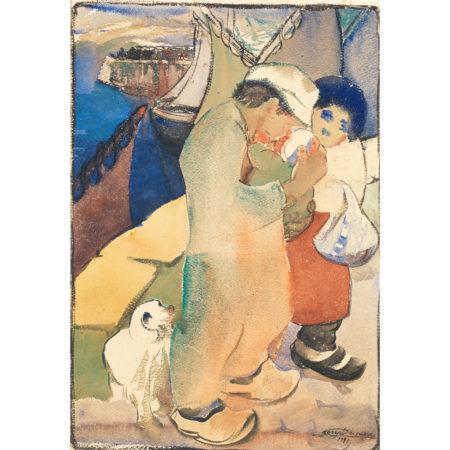 Victor Lacasse-Couple De Pecheurs Et Leur Enfant-1931