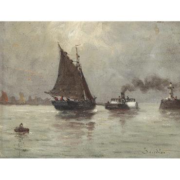 Eugene Louis Boudin-Bateau Et Remorqueur