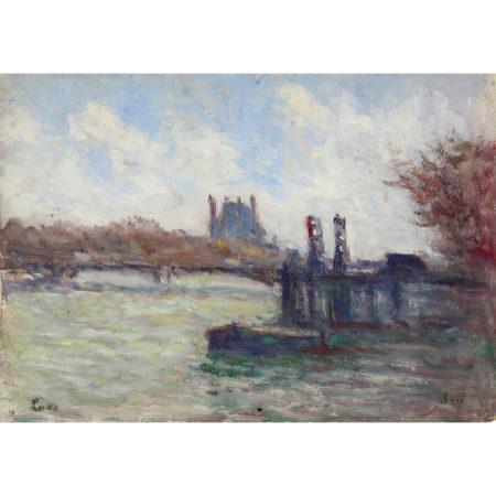 Maximilien Luce-Paris, La Seine Pres Du Louvre, Vers-1935