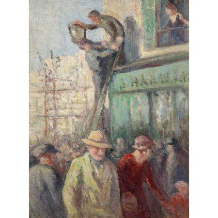 Maximilien Luce-Paris, Badauds Devant Un Chantier, Vers-1930