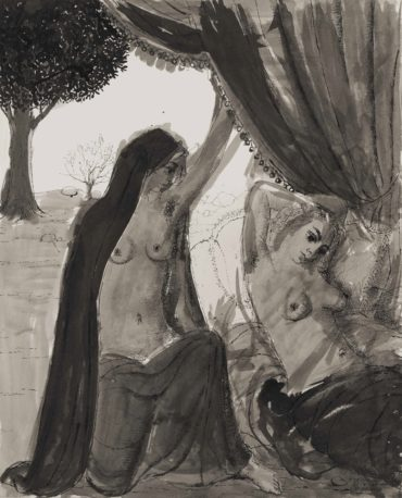 Paul Delvaux-Le rideau, etude pour 'La mer est proche'-1965