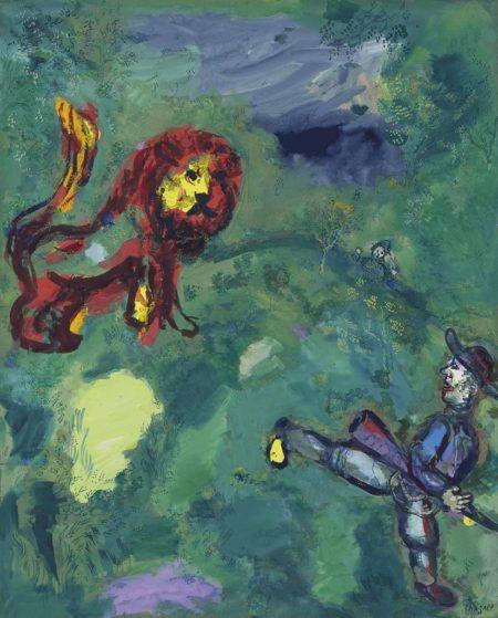 Marc Chagall-Le lion et le chasseur (Fables de La Fontaine)-1928