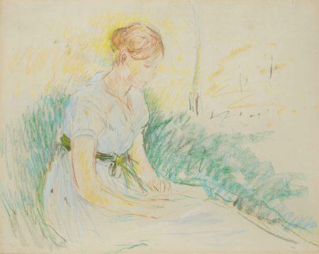 Berthe Morisot-Jeune fille assise dans la prairie-1890