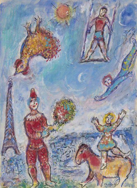 Marc Chagall-Le cirque dans le ciel bleu de Paris, esquisse-1981