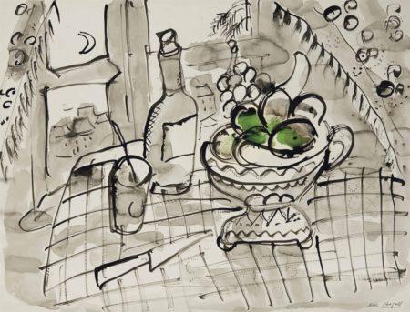 Marc Chagall-Nature morte aux pommes vertes-1955