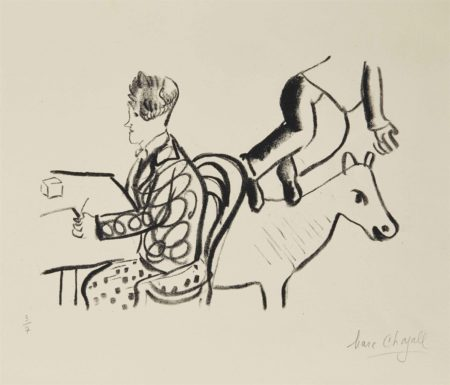 Marc Chagall-A Table, Homme assis et Animal-1922