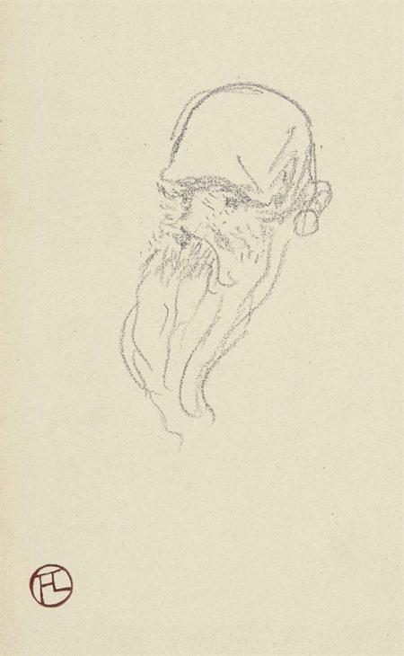 Henri de Toulouse-Lautrec-Tete de vieillard avec grande barbe (recto); Croquis de tetes (verso)-1887