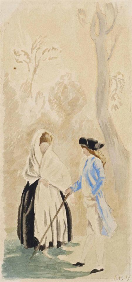 Roger de La Fresnaye-Le militaire et la dame, d'apres Goya-1919
