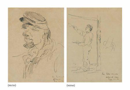 Edvard Munch-Tete d'homme (recto); Etude d'ouvrier (verso)-1880