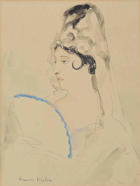 Francis Picabia-Espagnole a l'eventail borde de bleu-1927