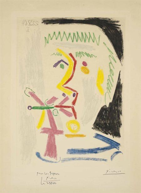 Pablo Picasso-Fumeur a la cigarette verte-1964