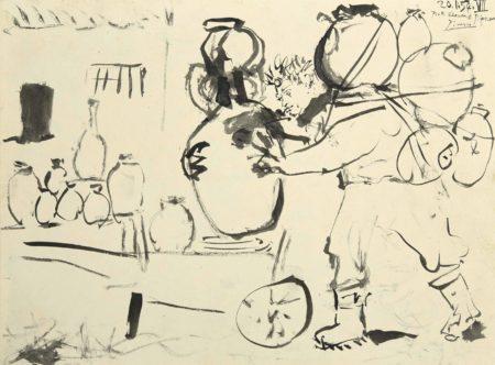Pablo Picasso-Edouard Pignon quittant Vallauris avec ses poteries-1954