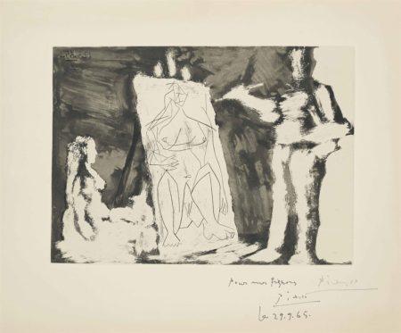 Pablo Picasso-Peintre et sa toile, avec un modele-1965
