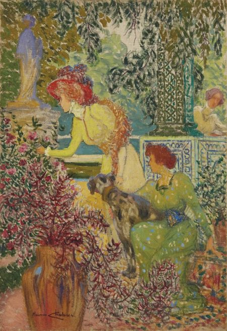 Maurice Chabas-Elegantes dans un jardin-