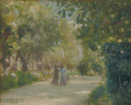 Silvestro Lega-Deux femmes sur un chemin-