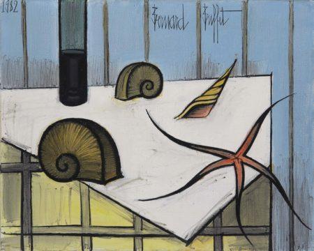 Bernard Buffet-Nature morte a l'etoile de mer et aux coquillages-1982