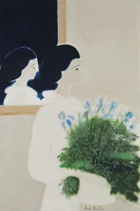 Andre Brasilier-Femme au bouquet de fleurs-1977
