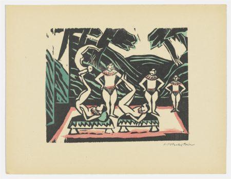 Max Pechstein-Akrobaten III (Varieteszene); Komposition mit drei Palau-Akten-1918
