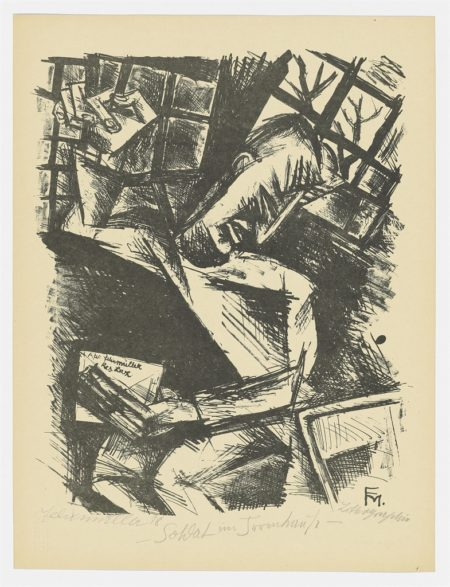 A Small Collection of Expressionist Prints, from: Die Schaffenden (Interieur mit zwei Akten; Soldat im Irrenhaus II, Madchenkopf, Das Prinzip; Straße in Wilmersdorf)-1920
