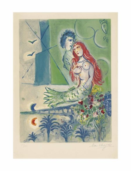 After Marc Chagall - Sirene with Poet, from: Nice and the Cote d'Azur-1967