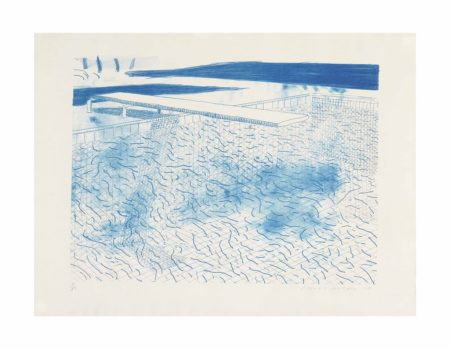 David Hockney-Lithograph of Water Made of Lines-1978