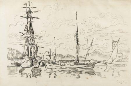 Paul Signac-Saint-Tropez. Bateaux Au Port-1910