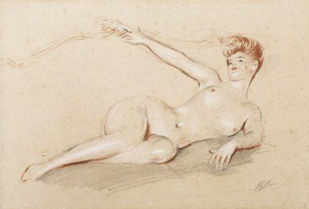Paul Cesar Helleu-Lying Nude On A Sofa-