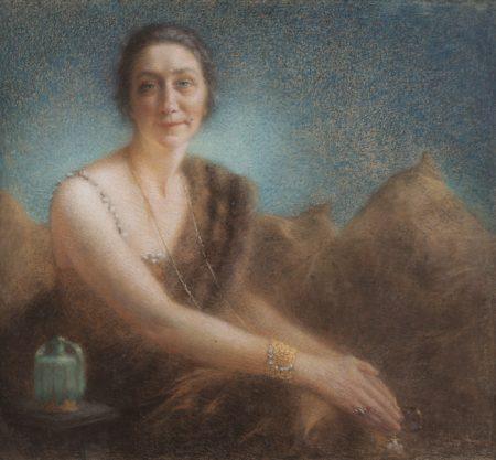 Lucien Levy-Dhurmer-Elegant Woman On A Sofa-