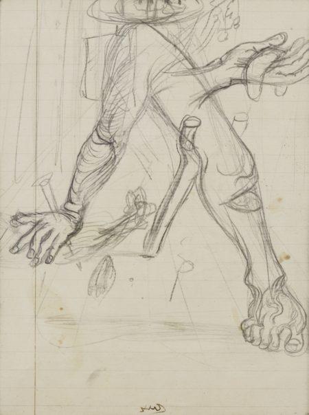Salvador Dali-Etude De Bras Et Jambe Avec Main Et Bequille-