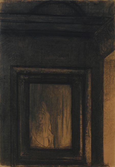 Odilon Redon-Le Miroir Hante-1890
