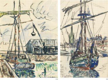 Paul Signac-Deux Dessins : (I) Lorient, Caboteur A L'Ancre (Page De Carnet); (II) La Grue, Caboteur A Quai Dans Un Port Breton (Page De Carnet)