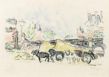 Paul Signac-Paris, La Berge Au Pont Des Saints-Peres-1912