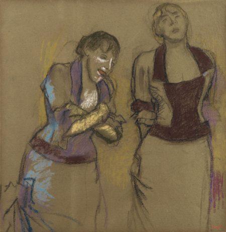 Edgar Degas-Au Cafe-Concert, Deux Chanteuses-1880