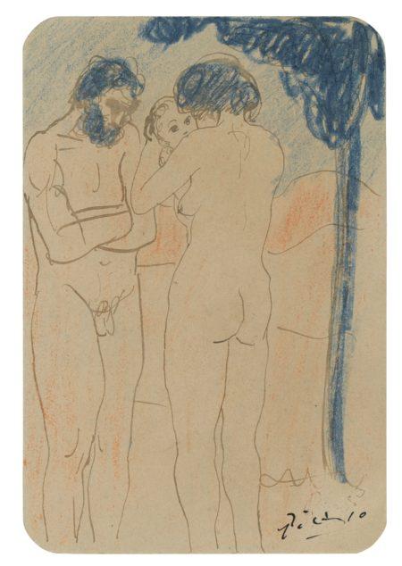 Pablo Picasso-Couple Et Enfants Nus-1902